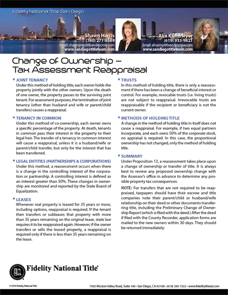 Change of Ownership - Tax Assessment Reappraisal